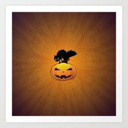 Black kitten on big Halloween pumpkin Art Print