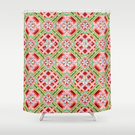 Groovy Folkloric Snowflakes Shower Curtain