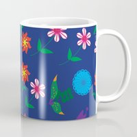 floral pattern Mugs featuring Floral pattern  by luizavictoryaPatterns