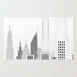 Modern City Buildings And Skyscrapers Sketch, New York Skyline, Wall Art Poster Decor, New York City Rug