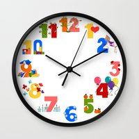 numbers Wall Clocks featuring numbers by Alapapaju