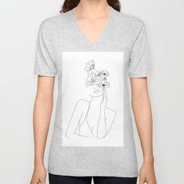 Minimal Line Art Woman with Flowers Unisex V-Neck