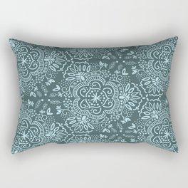 Hand-Drawn Symmetric Teal floral Rectangular Pillow