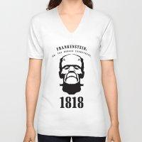 prometheus V-neck T-shirts featuring A Century of Horror Classics :: Frankenstein; Or, The Modern Prometheus by David Edward Johnson