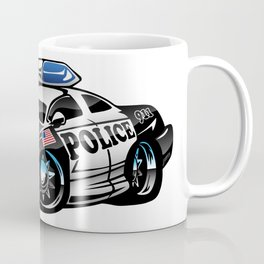 Police Muscle Car Cartoon Illustration Coffee Mug