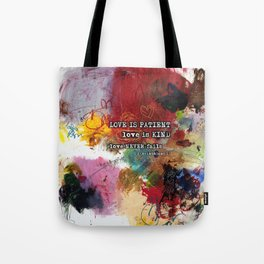 Love NEVER FAILS Scripture Bible Verse Abstract Art Painting by Michel Keck Tote Bag