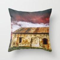 broken Throw Pillows featuring Broken by SpaceFrogDesigns