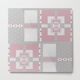 Grey Pink Multi PatchWork Geometrial Pattern Metal Print