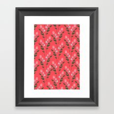 Tiny Rose Pattern - Coral Framed Art Print