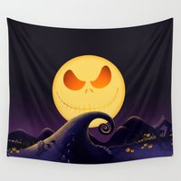 jack skellington Wall Tapestries featuring Starry Night Jack Skellington by ThreeBoys