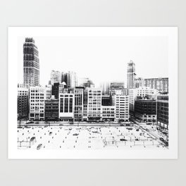 Woodward Avenue Downtown Detroit Black and White Print Art Print