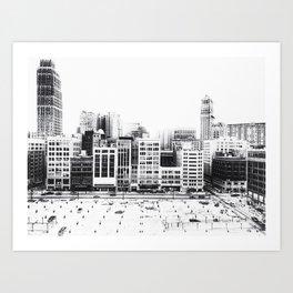 Woodward Avenue Downtown Detroit Black and White Print Art Print