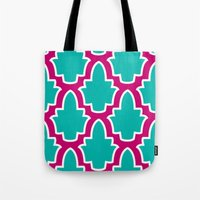 moroccan Tote Bags featuring Moroccan by Farah Saheb