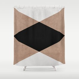 natural, cream and black triangles Shower Curtain
