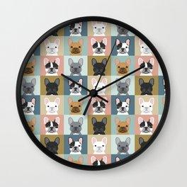French Bulldog portraits pattern dog person gift love animal pet puppy frenchie bulldog valentines Wall Clock