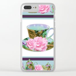 ABSTRACTED PINK ROSE TEA TIME BLUE PORCELAIN ART Clear iPhone Case