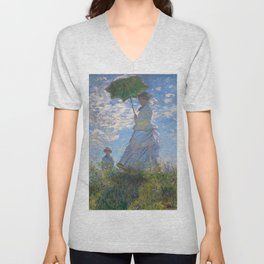 1875-Claude Monet-Woman with a Parasol - Madame Monet and Her Son-81 x 100 Unisex V-Neck