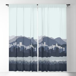 Vancouver Skyline in Blues Blackout Curtain