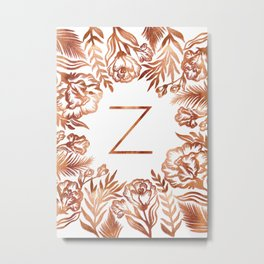 Letter Z - Faux Rose Gold Glitter Flowers Metal Print