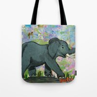 baby elephant Tote Bags featuring Baby Elephant by gretzky