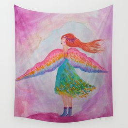 Rainbow Wings Wall Tapestry