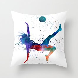 Woman soccer player 08 in watercolor Throw Pillow