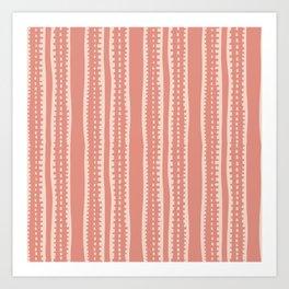 Modern Orange Clay Color Minimal Stripes   Art Print