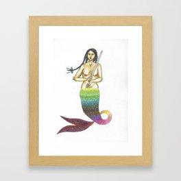 mermaid with braided hair and a sword Framed Art Print
