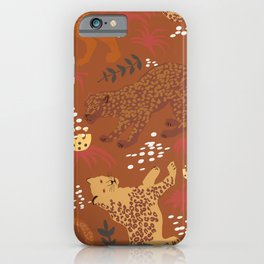 Jungle Cat Party in Rust iPhone Case