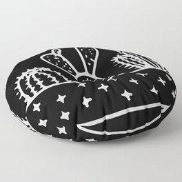 Cactus Planter Gray on Black Floor Pillow