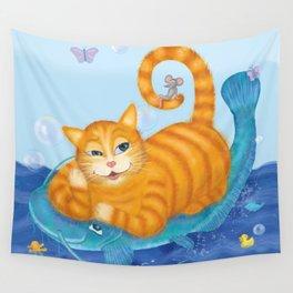 Orange tabby cat & blue catfish  Funny kids illustration Wall Tapestry