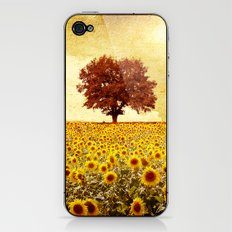 lone tree & sunflowers field iPhone & iPod Skin