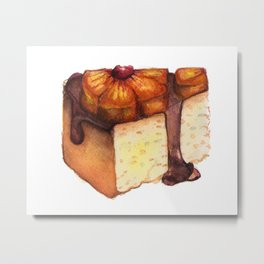 Pineapple Upside-Down Cake Slice Metal Print