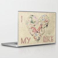 brompton Laptop & iPad Skins featuring I Love My Bike by Wyatt Design
