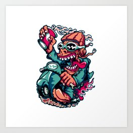 Scooter Driver - GREEN Art Print