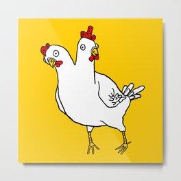 Chicken Dos Cabezas Metal Print