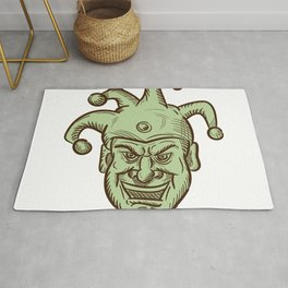 Demented Medieval Court Jester Drawing Rug