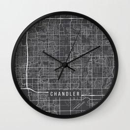 Chandler Map, Arizona USA - Charcoal Portrait Wall Clock