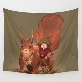 Nino & Roux, Forest child and his fellow Squirrel  Wall Tapestry
