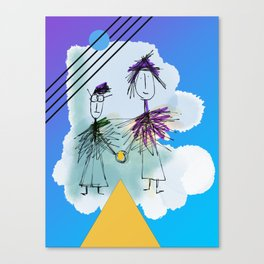 Holding Hands in the sky Canvas Print
