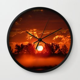 Flaming Horses over the Foggy Sunrise Wall Clock