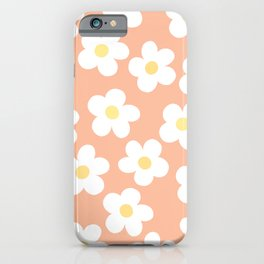 Peach 70's Retro Flower Power iPhone Case