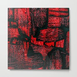 Red Painted Abstract Squares Metal Print