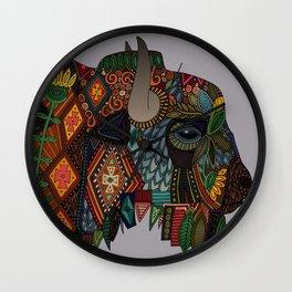 bison heather Wall Clock