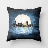 milwaukee Throw Pillows featuring Milwaukee Night by Kristiekoz