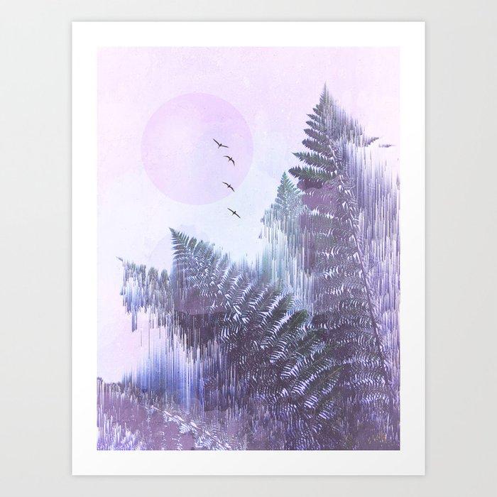 Frozen Fern by the Moon - Glitch Art Art Print