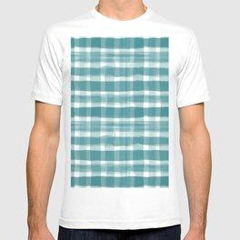 Watercolor Brushstroke Plaid Pattern Pantone Deep Lake Teal 18-4834 on White T-shirt