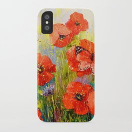 Poppies and butterflies iPhone Case