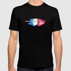 USA watercolor MEDIUM Black Mens Fitted Tee
