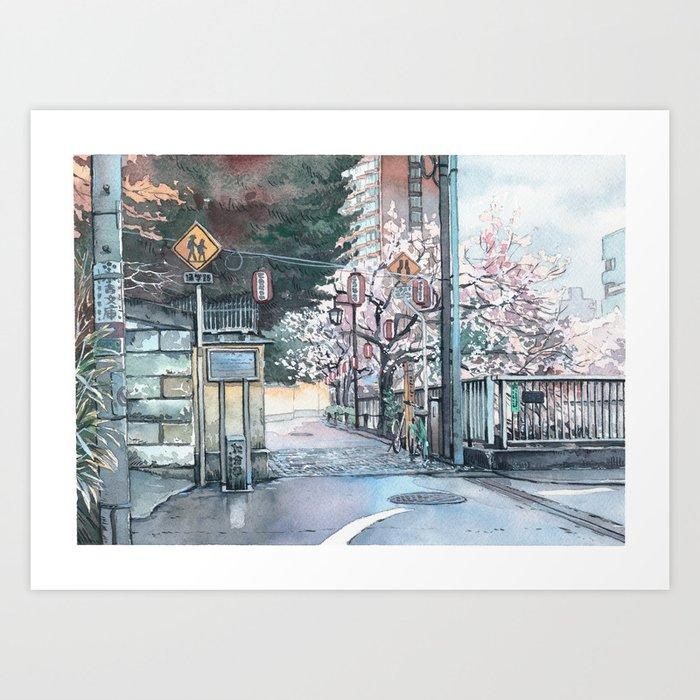 Corner Sakura Art Print